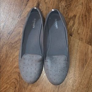Cute suede gray flats with small bead detail